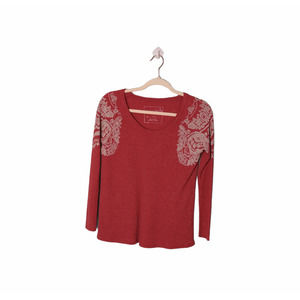 We The Free Red Waffle Knit Thermal Sweater, XS